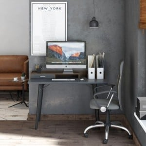 Alphason Office Furniture Charcoal Grey and Walnut Writing Desk
