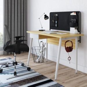 Alphason Office Furniture Freemont Beautiful Sturdy Frame White and Light Oak Desk