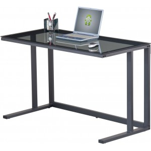 Alphason Office Furniture Air Desk Smoked Glass & Black Metal Workstation
