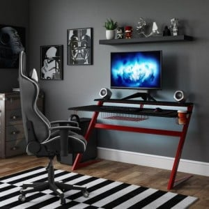 Alphason Office Furniture Aries Red and Black Gaming Desk