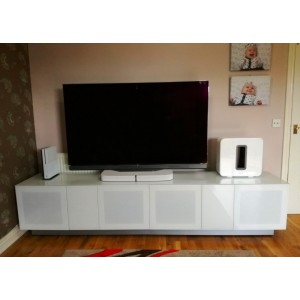 Alphason Furniture Element Modular White Glass Top TV Stand