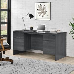 Presley Wooden Furniture Weathered Grey Oak 4 Drawers Executive Desk