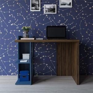 Alphason Furniture Xavier Walnut/Blue 2 Shelf Computer Desk