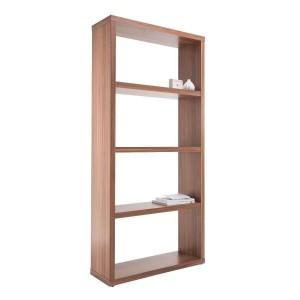 Alphason Furniture Maine Walnut Effect 4 Shelf Wide Bookcase
