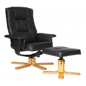 Alphason Furniture Drake Black Reclining Chair with Footstool Set