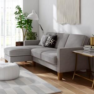 Alphason Furniture Novogratz Bowen Grey Chenille Fabric Corner Sofa with Contrast Welting