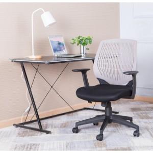 Malibu Fabric Seat with Grey Plastic Backrest Chair
