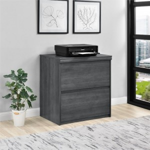 Presley Wooden Furniture Grey Weathered Oak Lateral File Cabinet