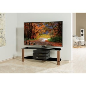 Alphason Furniture Century Black with Walnut Glass Top TV Stand
