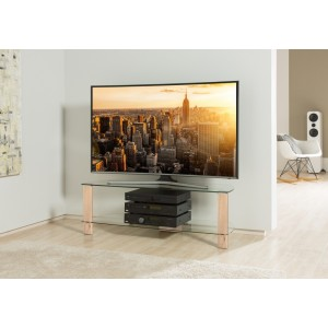 Alphason Furniture Century Light Oak Glass Top TV Stand