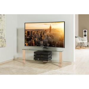 Alphason Furniture Century Light Oak Glass Shelf TV Stand