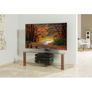 Alphason Furniture Century Walnut Glass Shelf TV Stand