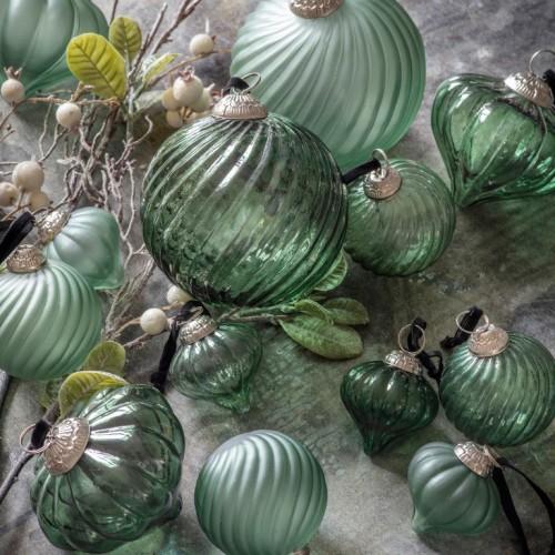 Zipporah 120mm Green Swirl Baubles Spruce Trees Decoration
