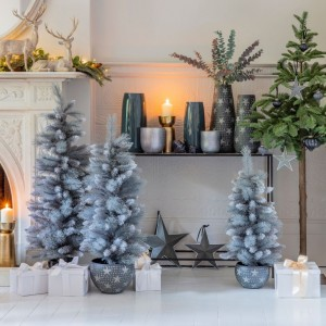 Gadarenes 800mm Green Artificial Potted Sparkly Pine Tree