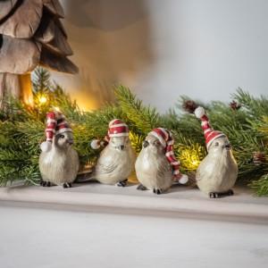 Linus Birds with Stripey Hats Set of 4 Indoor Decoration