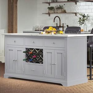 Baumhaus Furniture Grey Kitchen Island With White Granite Worktop