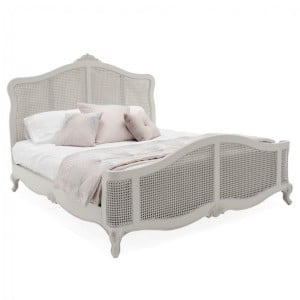 Vida Living Camille Grey Painted Kingsize 5ft Bed with Rattan Panels