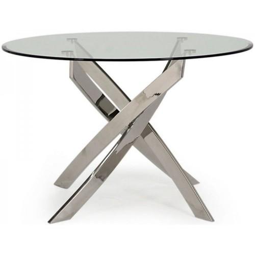 Vida Living Kalmar Glass & Steel Furniture 110cm Round Dining Table