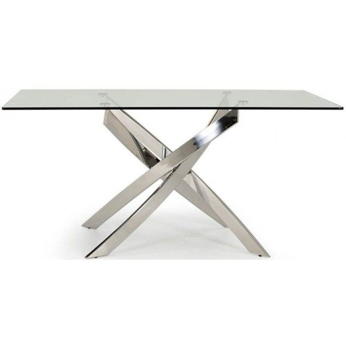 Vida Living Kalmar Glass & Steel Furniture 160cm Dining Table