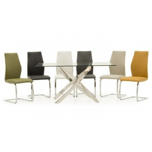 Vida Living Kalmar Glass & Steel Furniture 160cm Dining Table & 4 Elis Grey Chairs