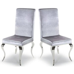 Vida Living Louis Metal Furniture Silver Velvet Dining Chair Pair