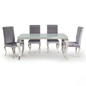 Vida Living Louis Metal Furniture White 160cm Dining Table and 4 Chairs
