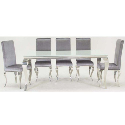 Vida Living Louis Metal Furniture White 200cm Dining Table and 6 Chairs