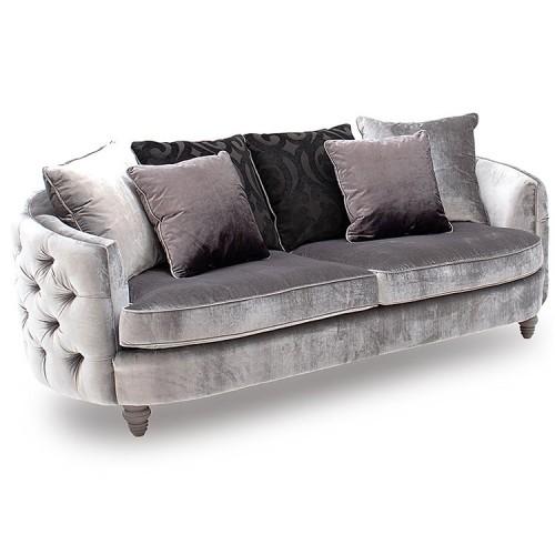 Vida Living Furniture Nicolette Pewter Velvet 3 Seater Sofa