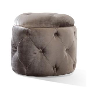Vida Living Furniture Nicolette Pewter Velvet Footstool