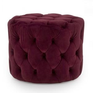 Vida Living Furniture Perkins Crimson Red Velvet Footstool