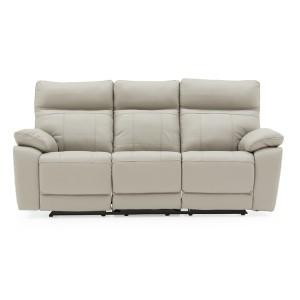 Vida Living Furniture Positano Light Grey Leather Recliner 3 Seater Sofa