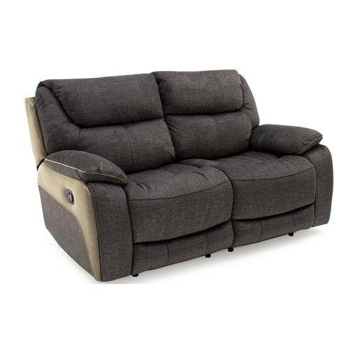 Vida Living Furniture Santiago Grey Fabric 2 Seater Recliner Sofa