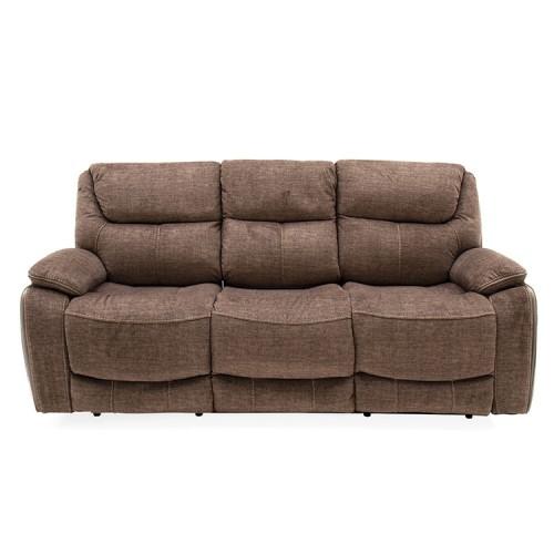 Vida Living Furniture Santiago Brown Fabric 3 Seater Recliner Sofa