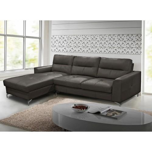 Vida Living Furniture Tanaro Grey Leather Left Hand Corner Sofa Group