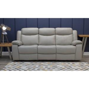 Vida Living Furniture Torretta Light Grey Leather Recliner 3 Seater Sofa