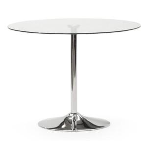 Vida Living Orbit Chrome & Clear Glass 90cm Round Dining Table