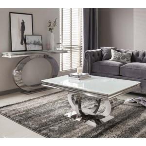Vida Living Orion Chrome & Glass Console & Coffee Table Set