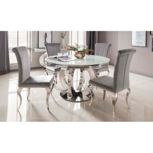 Vida Living Orion Chrome & Glass Round Dining Table & 4 Nicole Chairs