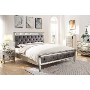 Vida Living Rosa Mirrored Furniture Super Kingsize 6ft Bed with Low Footend