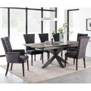 Vida Living Valerius Ceramic & Metal Furniture Grey Extending Dining Table & 6 Pembroke Chair