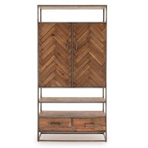 Vida Living Vanya Industrial Furniture Light Brown 2 Door 2 Drawer Display Cabinet