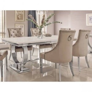 Vida Living Arianna Cream Marble 180cm Dining Table & 6Belvedere Champagne Chairs