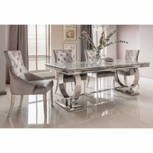 Vida Living Arianna Grey Marble 200cm Dining Table & 4 Belvedere Pewter Chairs