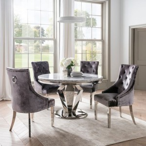 Arturo Grey Marble 130cm Round Table & 4 Belvedere Charcoal Chairs