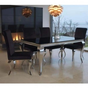 Vida Living Louis Metal Furniture Black 160cm Dining Table and 4 Chairs