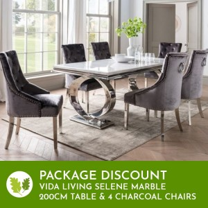 Vida Living Selene Bone White Marble Furniture 200cm Dining Table & 4Belvedere Charcoal Chairs