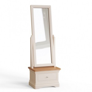 Vida Living Winchester Silver Birch Painted & Oak Furniture Cheval Mirror with Cabinet