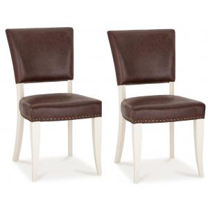 Bentley Designs Belgrave Furniture Espresso Upholstered Chair Pair