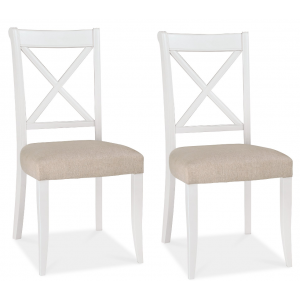 Hampstead Two Tone Painted Furniture Fabric X Back Dining Chair Pair