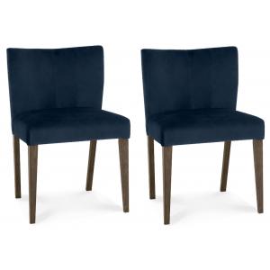 Bentley Designs Turin Dark Oak Low Back Velvet Chair Pair